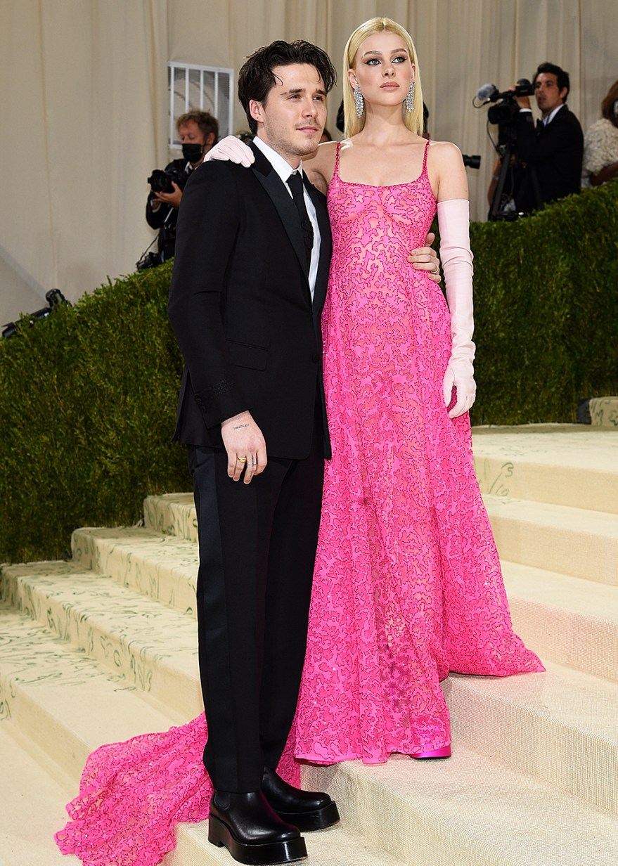 """Brooklyn Beckham, left, and Nicola Peltz attend The Metropolitan Museum of Art's Costume Institute benefit gala celebrating the opening of the """"In America: A Lexicon of Fashion"""" exhibition on Monday, Sept. 13, 2021, in New York. (Photo by Evan Agostini/Invision/AP)"""