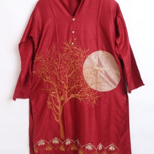 Digital Embroidered Linen stitched shirts for women1003-4