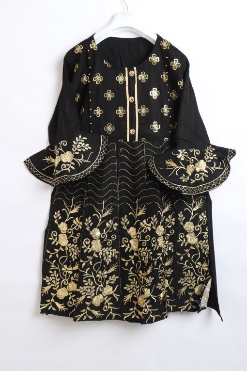 Beautiful Embroidery Linen stitched frock shirts for women 1009-6