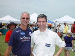 Volunteer Rudy Burgess (left) with Ken Cuccinelli (right)