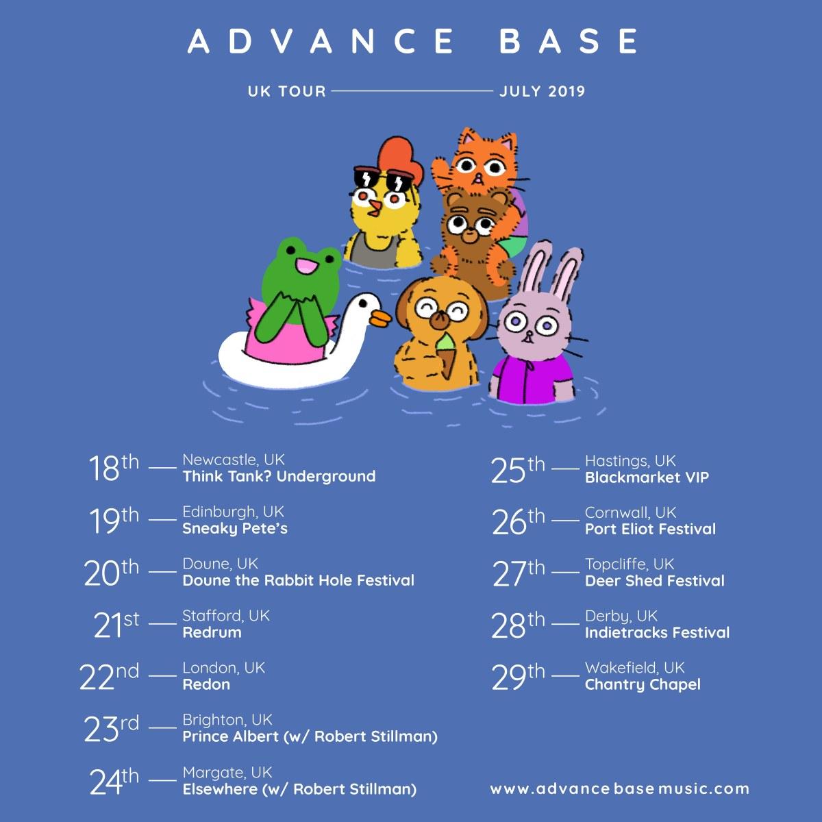 advance base uk tour poster