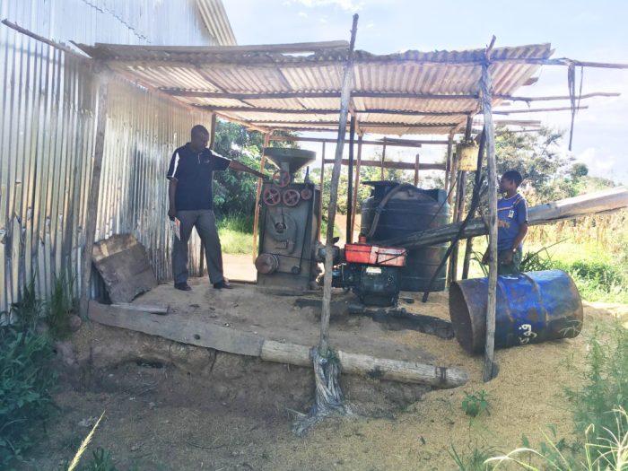 hommes devant rizière à diesel