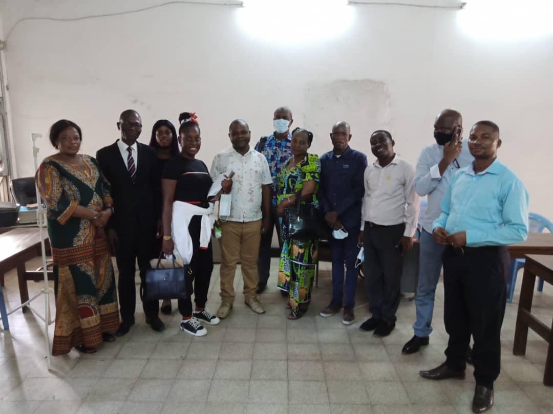 Échange d'informations entre les syndicalistes de la RDC et de Côté d'Ivoire au siège national de la FENECO-UNTC, Avril 2021