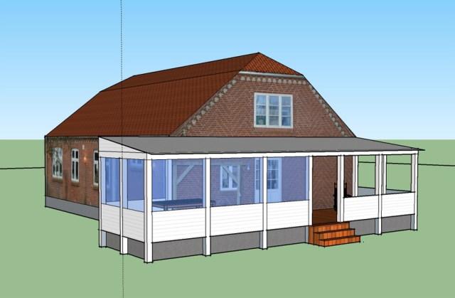 Visualisering af veranda lavet i Sketchup.
