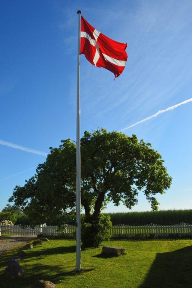 Flagstang med hejst flag.