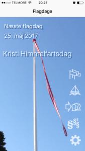 Screenshot fra appen flagdage.