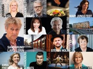 Fotocollage med författare som kommer till bokfestivalen 2019.