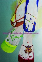 Four sandals illustrated wearing each in two hands and feet: yellow and brown flat sandals, blue flat sandals, green leafy sandals and bejewelled bridal sandals.