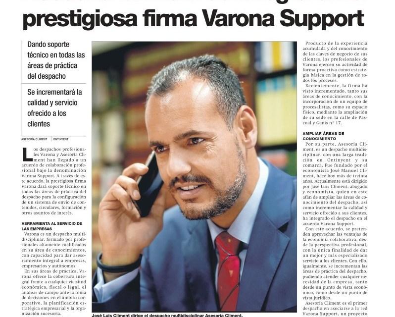 ASESORÍA CLIMENT SE INTEGRA EN VARONA SUPPORT
