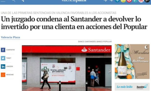 EN LOS MEDIOS: LA SENTENCIA FAVORABLE A LOS ACCIONISTAS DEL BANCO POPULAR POR UNA DEMANDA DE VARONA LEGAL