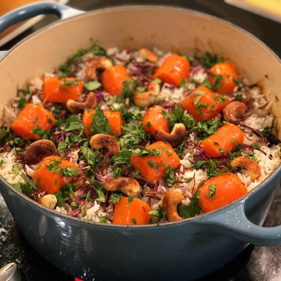 A beautiful chicken biryani in a Le Creuset Pot