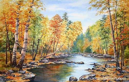 American Paint And Wallpaper Fall River Autumn On Pleasant River Original Seascape Watercolor