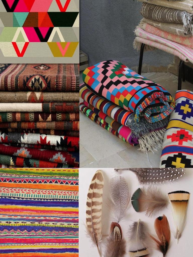 tribal nomad ikat pattern pring boho aztec native feather