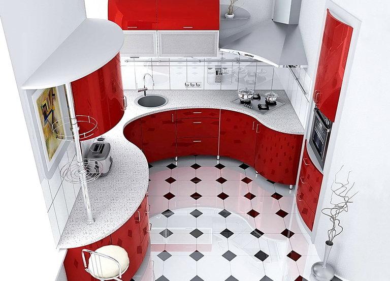 маленькая кухня дизайн фото 8 кв м с холодильником 3