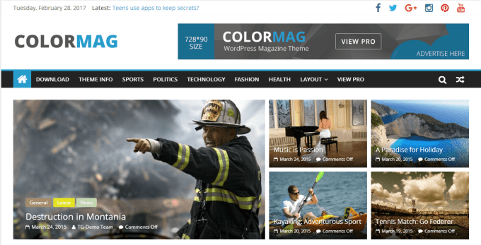 colormag theme preview