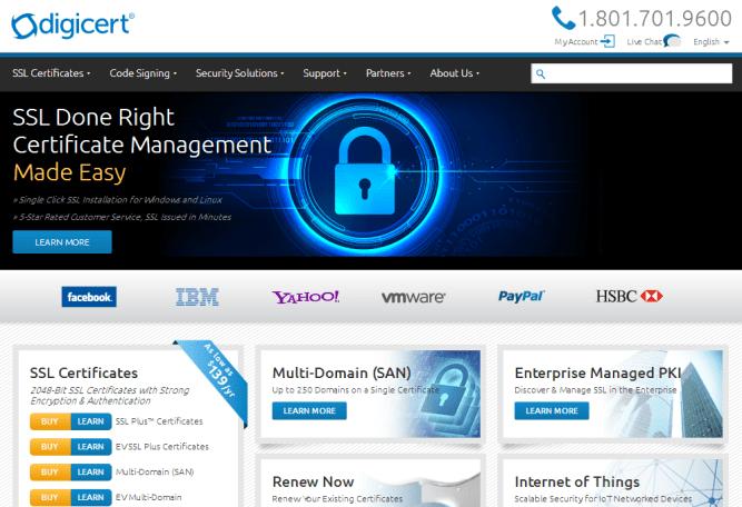 digicert ssl highly trusted certificates