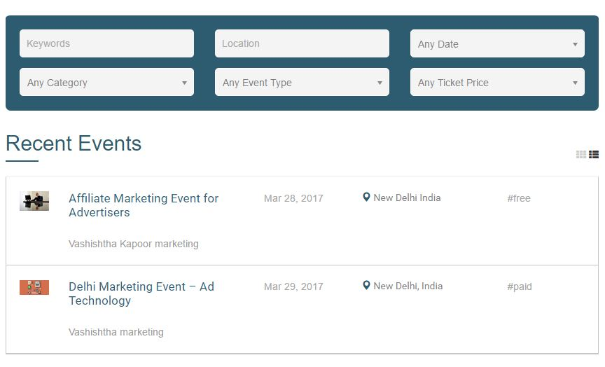 all events list view