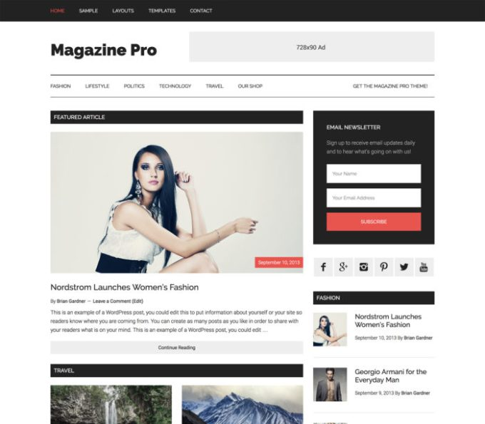 magazine-pro studio press adsens optimized theme