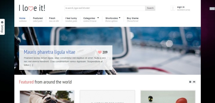 I love it » Content Sharing WordPress Theme