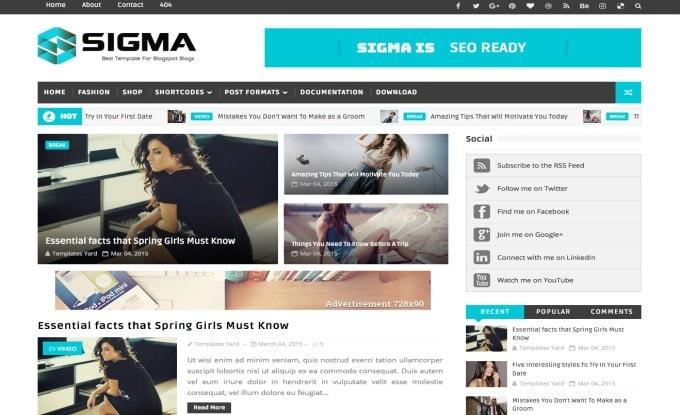 Sigma Blogger Template