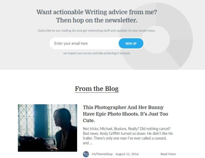 writer theme blog and email box