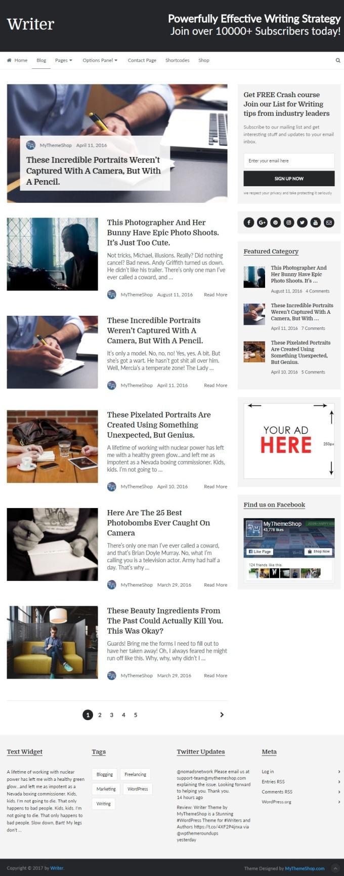 writer theme blog full page