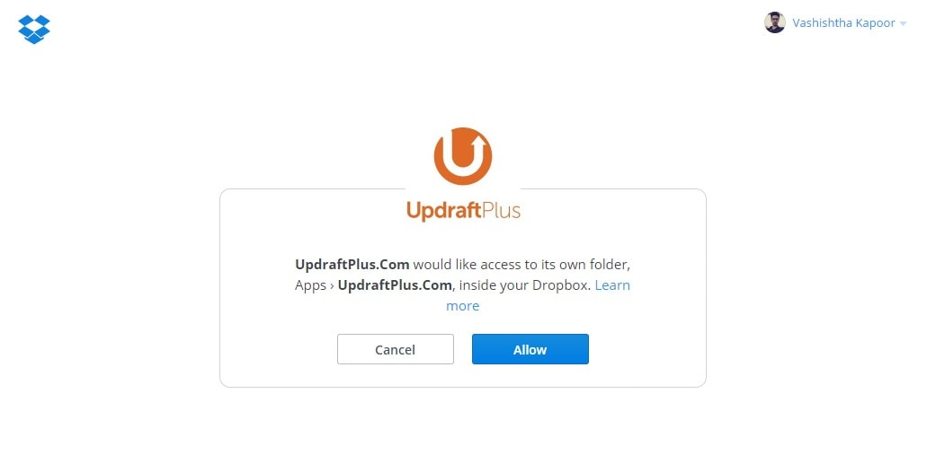 API Request Authorization Dropbox