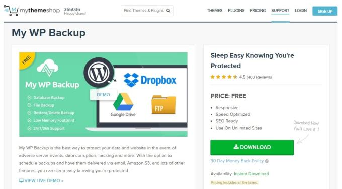 My WP Backup Free Backup WordPress Plugin MyThemeShop