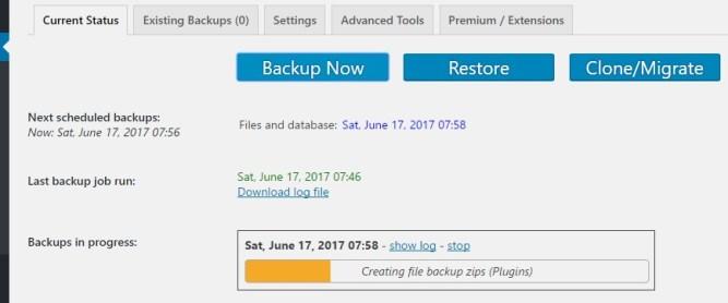 backup in progress updraft