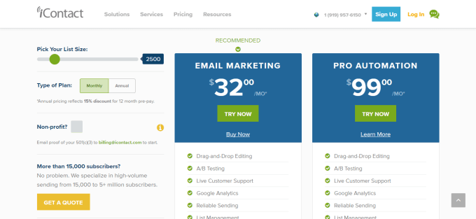 pricing page new icontact