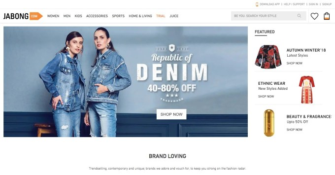 jabong shopping site of india