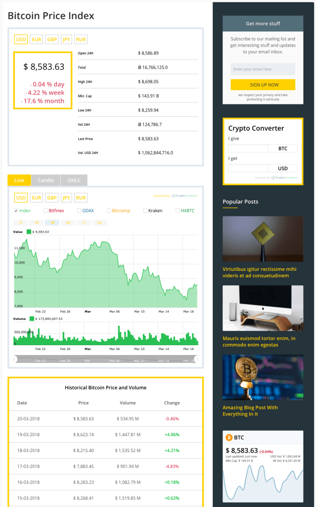 Bitcoin Price Index Crypto Theme