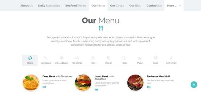 Menu in Shrimpy WordPress Theme