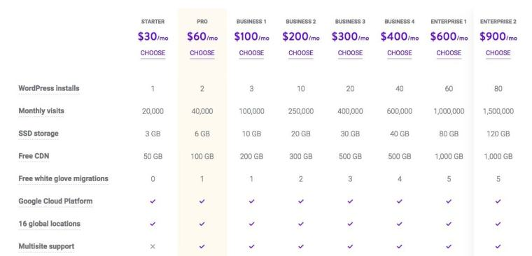Plans and Pricing Kinsta