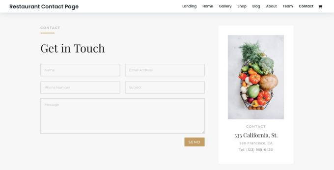 Restaurant Contact Page