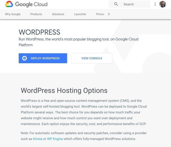 WordPress Cloud Hosting Google Cloud