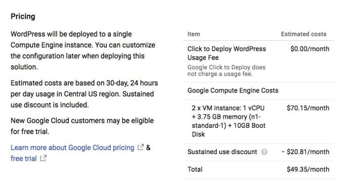 WordPress Google Cloud Launcher Pricing