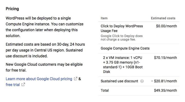 WordPress Google Cloud Launcher Pricing