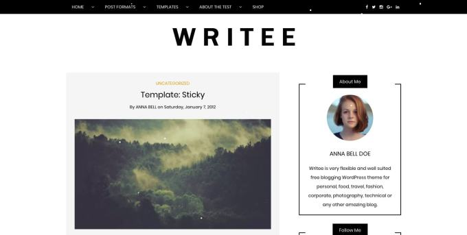 Writee Free WordPress Blog Theme 2018