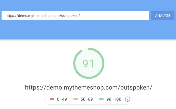 outspoken-theme-google-speed-test