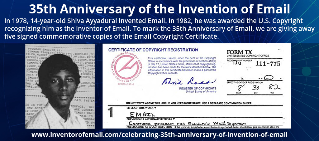 Celebrating The 35th Anniversary Of The Invention Of Email By Shiva Ayyadurai