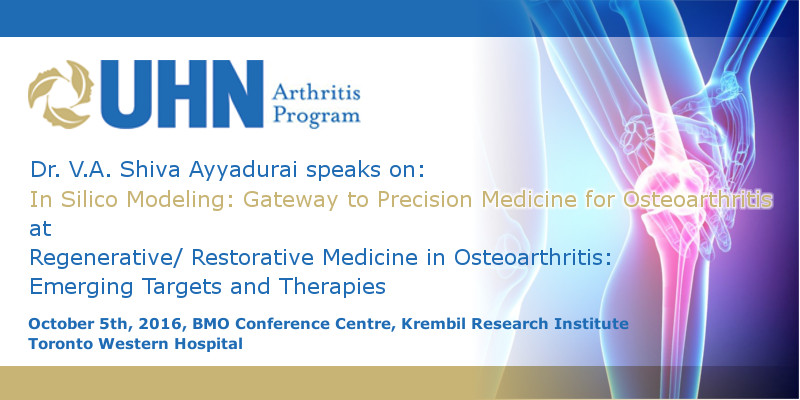 Distinguished Lecture On Precision Medicine For Osteoarthritis At UHN, Toronto