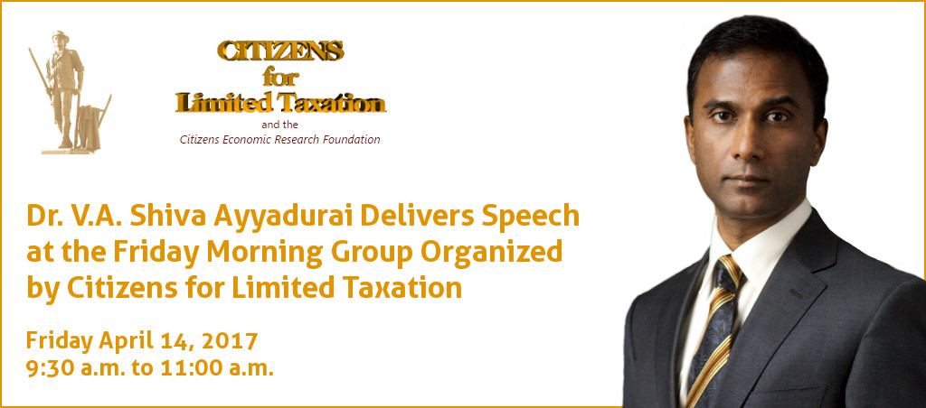 Dr. V.A. Shiva Ayyadurai Speaks At Friday Morning Group Organized By Citizens For Limited Taxation