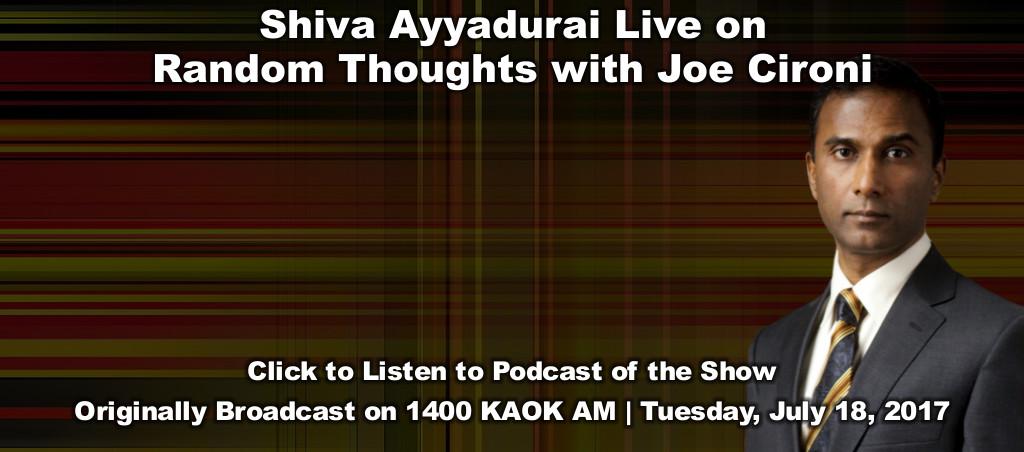 Dr. Shiva Ayyadurai Live On Random Thoughts With Joe Cironi