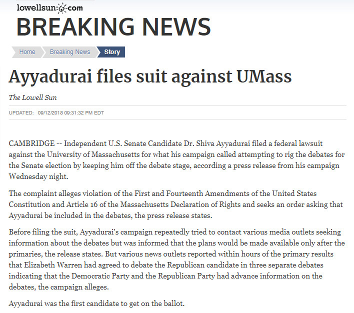 Ayyadurai Files Suit Against UMass