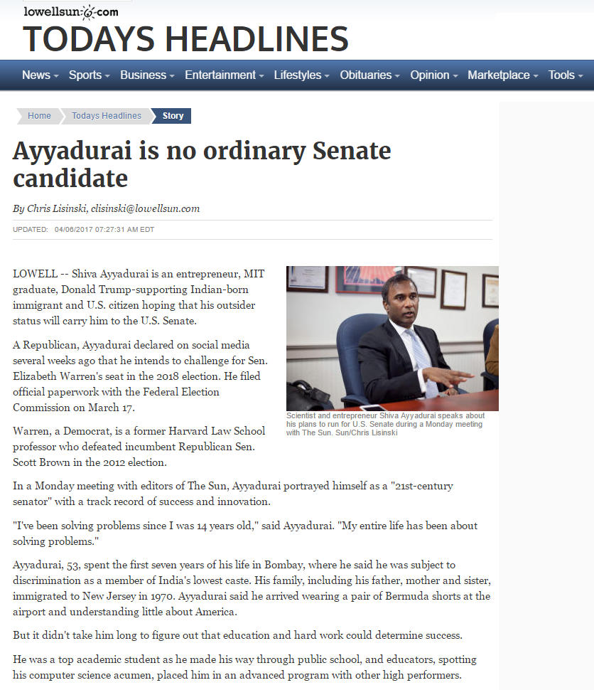 Ayyadurai Is No Ordinary Senate Candidate