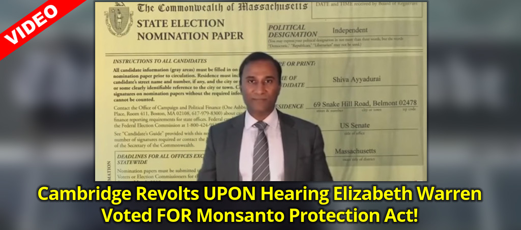 Cambridge Revolts UPON Hearing Elizabeth Warren Voted FOR Monsanto Protection Act!