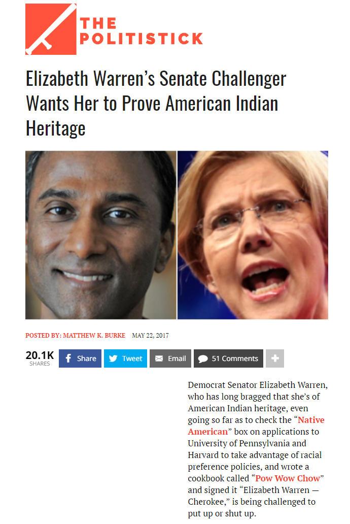 Elizabeth Warren's Senate Challenger Wants Her To Prove American Indian Heritage