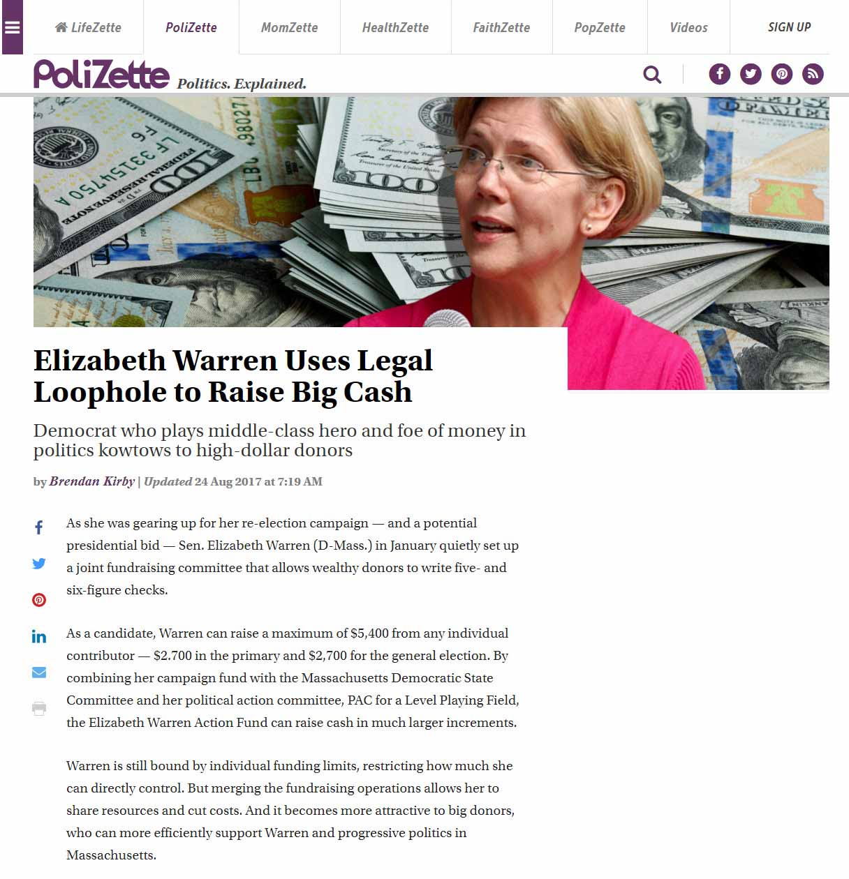 Elizabeth Warren Uses Legal Loophole To Raise Big Cash
