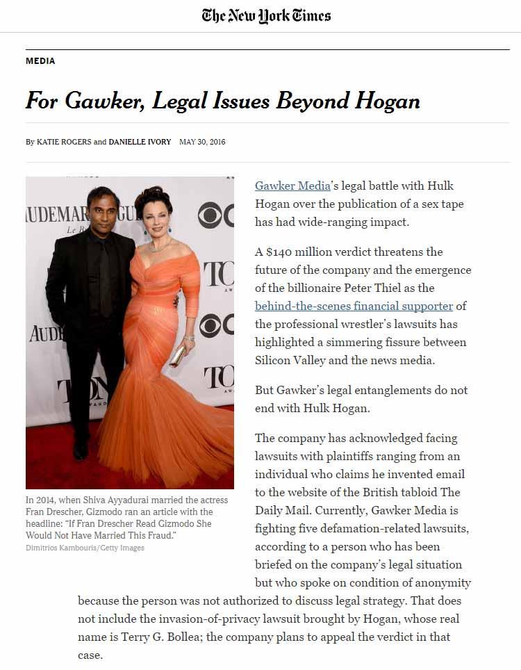 For Gawker, Legal Issues Beyond Hogan